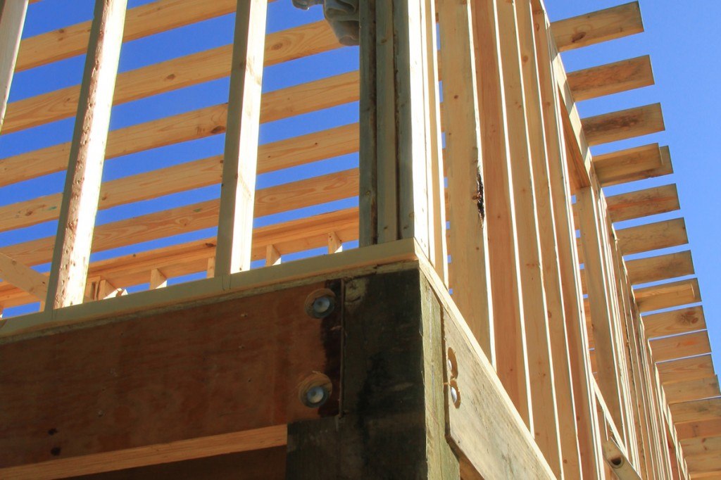 Framing is part of blacking in a house near the beach in Coastal Mississippi